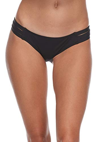 Eidon Women's Low Rider Mid Rise Bikini Bottom Swimsuit, Flavors Black Licorice, Medium