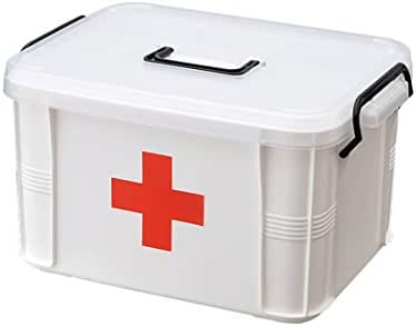 Levoberg Medicine Box Storage Box Organizer 2 Layers with Compartments Family Emergency Kit Storage Case 9.25