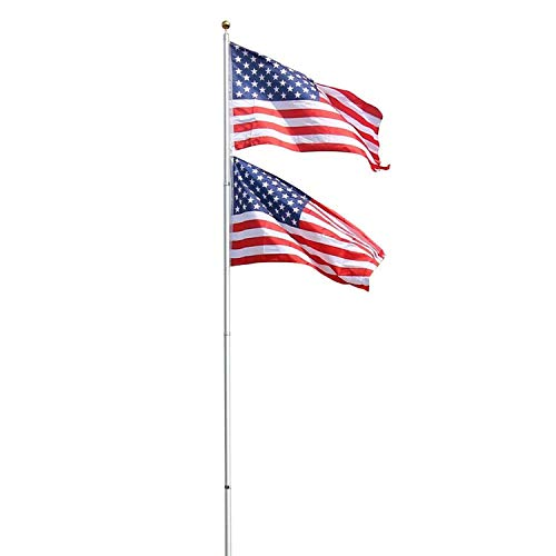 Peach Tree Basic Portable Commercial Flag Pole Outdoor Garden Construction Heavy Duty Aluminum Alloy with two USA flags, Silver (20ft)