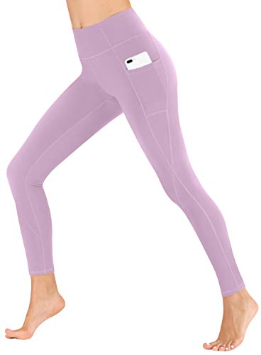 Heathyoga Yoga Pants High Waist Leggings for Workout Running & Yoga, Super Soft and Non See-Through Fabric (H7521 Light Purple, X-Large)