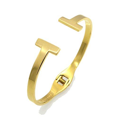 Polished Name Id Anchor Bracelet - G&T T-shape Style Titanium Steel Bracelet Lady Spring Opening Bracelet(C1)