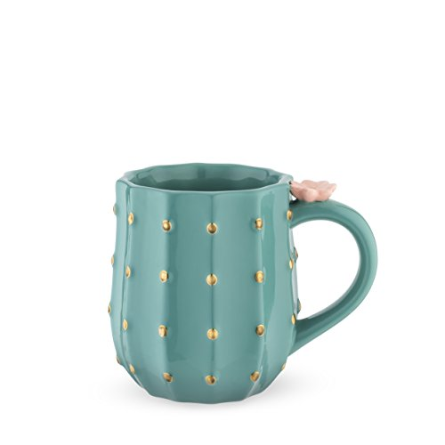 Pinky Up Cactus Mug, 3D Green Ceramic, Gold Details, Holds 10 Ounces, Coffee & Tea Accessories, Cute Succulent Coffee…