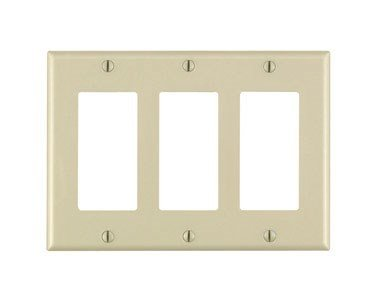 Leviton 80411-I 3-Gang Decora/GFCI Device Decora Wallplate, Standard Size, Thermoset, Device Mount, Ivory (Ivory Switch Plate)