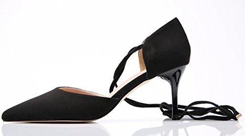 Zapatos Pointed de Toe Sandalias tacón BIGTREE Gladiador Vestir De Sandalias Zapatos Cordones Stiletto Mujer Negro naqvOAv