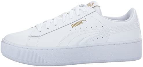 PUMA Women's Vikky Platform Leather, White White White, 8.5