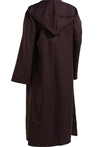 Men's Halloween Tunic Robe Hooded Cape Outfit Full Set (Men Medium, Brown Cloak) (Male Halloween Outfits)