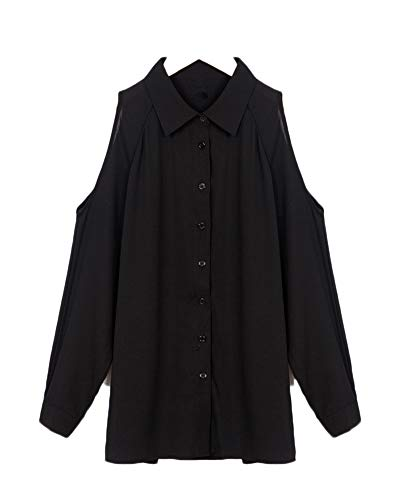 des paules Manches Shirt Chemisier Up Tunique Chemise Blouse Button Hors Femme Longues Top fvTSOOP