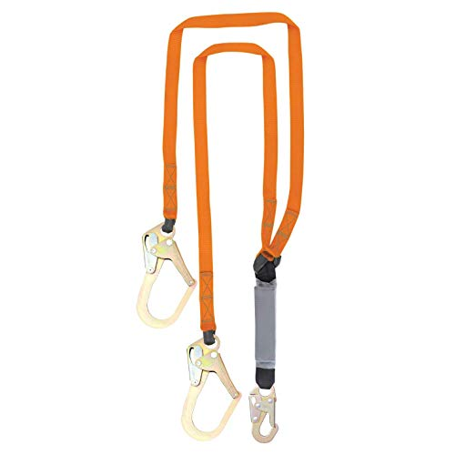 Malta Dynamics Fall Protection Six-foot Double Leg External Shock Absorbing Lanyard with Two Rebar Hooks and One Steel Snap Hook by Malta Dynamics