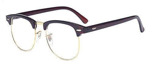 ALWAYSUV Classic Horn Rimmed Half Frame Clear Lens Glasses Brown Frame