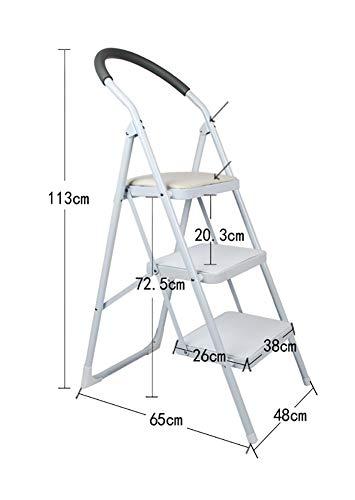Boyishengshi Iron Foot Bench - Adult Children's Ladder Folding Chair Indoor Kitchen Portable Ladder/Storage Rack/Footstool/Flower Stand/Black/Pink/White Step Stool,White