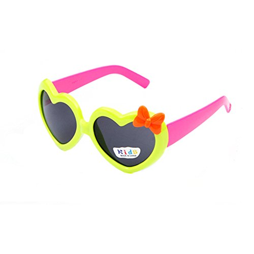 FancyG Cool Kids Lovely Heart Style Sunglasses Frame Toy Glasses Eyewear - Green with Hot Pink - Sunglasses K Style