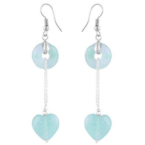 Pearlz Ocean Women's Viridian 3 Inch Multi Fluorite Beads Dangle - Pearl Viridian