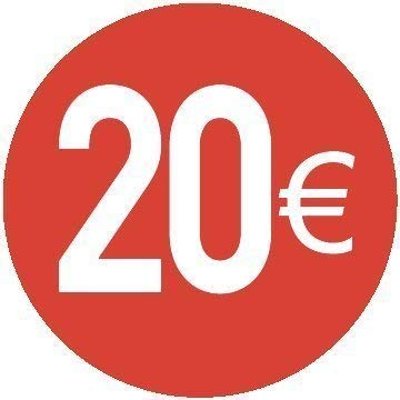 20/€ Euro Pack Of 500-13mm Rosso Price Stickers