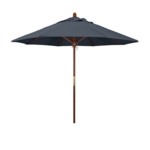 california umbrella 9 round hardwood frame market umbrella stainless steel hardware push open pacifica sapphire