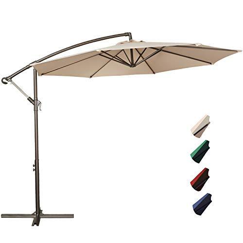 Cantilever Patio Umbrella - RUBEDER Offset Umbrella - 10Ft Cantilever Patio Hanging Umbrella,Outdoor Market Umbrellas with Crank Lift & Cross Base (10 Ft, Beige)