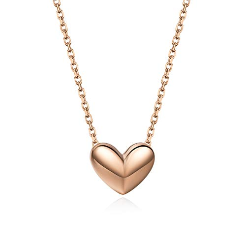 S.Leaf Heart Necklace for Women Sterling Silver Heart Necklace for Girls (Rose -