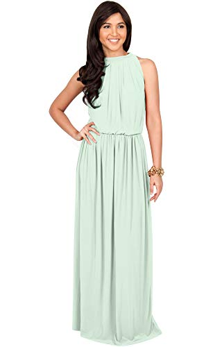 KOH KOH Womens Long Sexy Sleeveless Bridesmaid Halter Neck Wedding Party Guest Summer Flowy Casual Brides Formal Evening A-line Gown Gowns Maxi Dress Dresses, Light Pale Green L 12-14