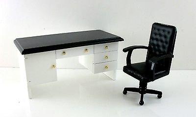 Casa de mu ecas miniatura estudio muebles cuero blanco top - Silla estudio amazon ...