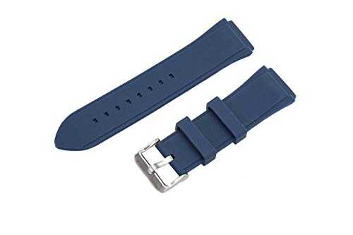 Compatible Navy Blue Color Rubber Watch Strap Band Fits Guess