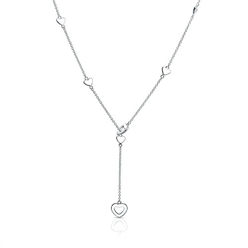 Open Heart Lariat Necklace - Open Heart Charm Y Shaped Lariat Sterling Silver Necklace 17 Inches