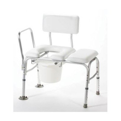 Deluxe Vinyl Padded Transfer Bench with Cut Out and Commode Pail