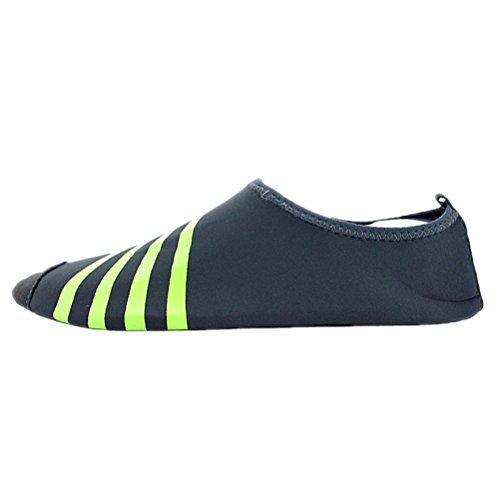 Aqua Chaussettes Chaussures De Leau Vague Nager Yoga Exercice Sport Glisser Sur Santimon Simplement Bande Gris