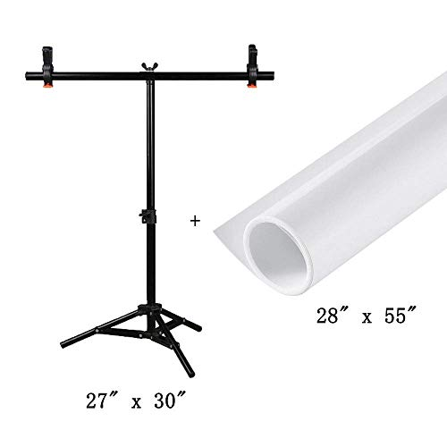 T-Shape Photography PVC Backdrop Background Support Stand System with PVC Backdrop Paper Kits (68x75cm Stand / 27
