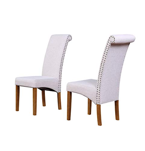 Merax Dining Chair Set of 2 Fabric Padded Side Chair with Solid Wood Legs, Nailed Trim (Light Beige) (Dining Upholstered Parsons Chairs)