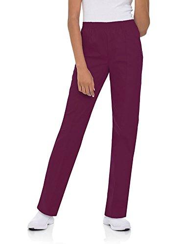 Landau 'Women's Classic Fit Pant Scrub Pant - 8320' Scrub Bottoms Wine Petite 2XL