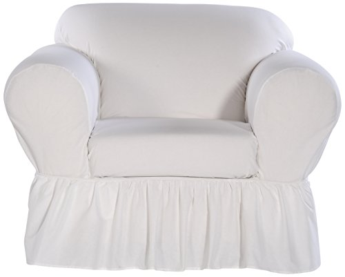 Classic Slipcovers WC302PRP 2 Piece Ruffled Chair Slipcover, White