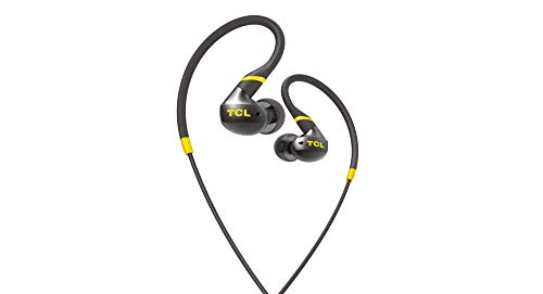TCL Actv100 in-Ear Earbuds Active Noise Isolating Wired Secure Fit Sweatproof Headphones with Built-in Mic – Black