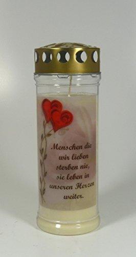 Grablicht-Kerze 20*7 cm - Ranke Rot Herzen - 3737 - Menschen die wir ... - ca. 7 Tage Brenndauer - Grabkerze mit Motiv und Spruch - Trauerkerze mit Foto und Spruch