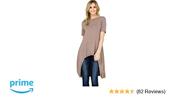11e3b0b8db7 Annabelle Women s Solid Knit Short Sleeve High and Low Tunic Tops S-3XL at  Amazon Women s Clothing store