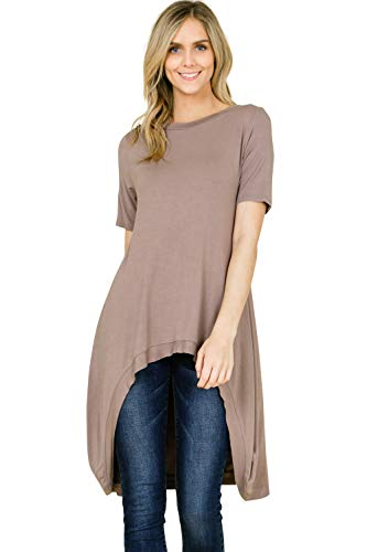 53156813c7e1 Annabelle Women s Solid Knit Short Sleeve High and Low Tunic Tops S-3XL