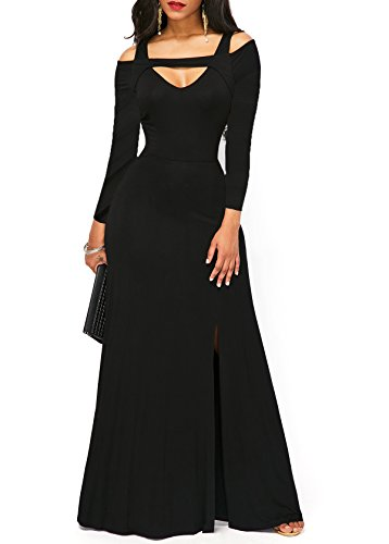 long black a line dress - 3