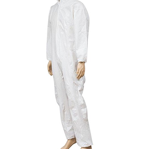 Zinnor Disposable Hooded Coveralls Chemical Protective Suits, Elastic Cuffs, Front Zipper Closure ,Serged Seams for Spray Painting Surgical Industrial (Large, White) by Zinnor (Image #1)