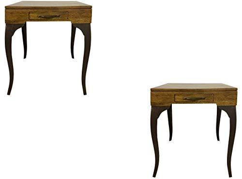 Designe Gallerie Melange Set Of 2 Storage End Table With Cabriole Legs (Knock-down), One Drawer, Wooden Top, Living Room…