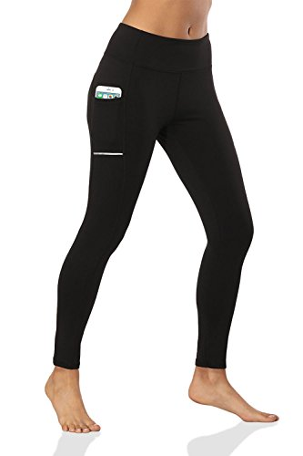 (Muryobao Women's High Waist Yoga Pants Capri Tummy Control Yoga Leggings Ankle Length Capris Tights with Pockets for Workout Running Fitness Sports Gym Black M)