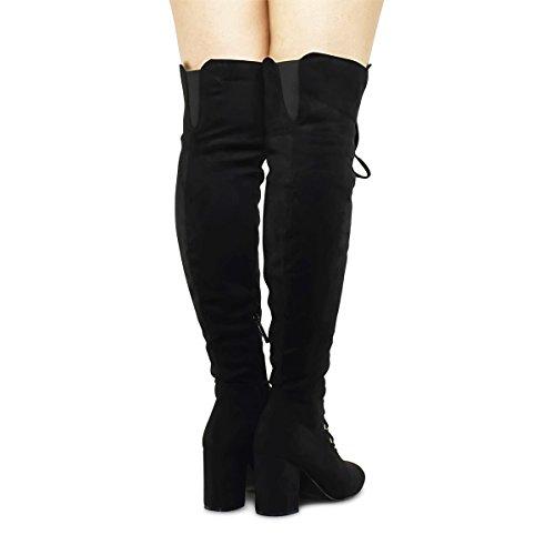 Premier Standard Damen Lace-Overknee-Overknee-Stiefel - Seitlicher Reißverschluss Comfy Vegan Suede Premium Schwarz Su