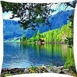 Lonely house on riverbank - Throw Pillow Cover Case (18