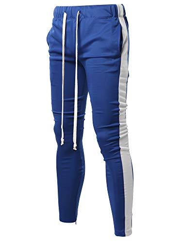 (Style by William Casual Long Length Drawstring Ankle Zipper Track Pants Royal Blue White S)