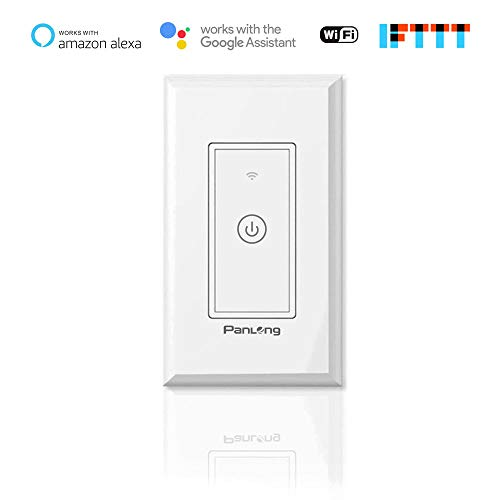 Panlong Smart Wi-Fi Wall Light Switch, Smart Switch Compatible with Alexa and Google Home, Remote Control with Timing Funtion, No Hub Required (1 Pack)