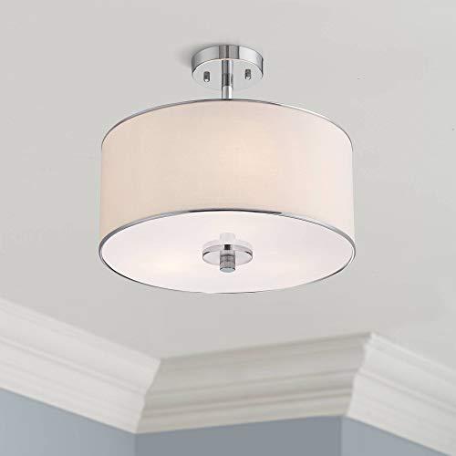 (Elsa Modern Ceiling Light Semi Flush Mount Fixture Chrome 16