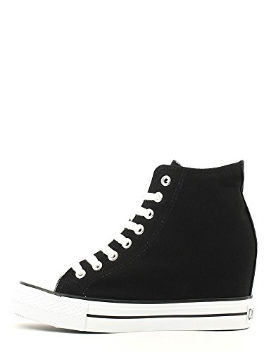 Cafè Noir Sneaker Damen Wedge Cm 7 Canvas Schwarz Nero