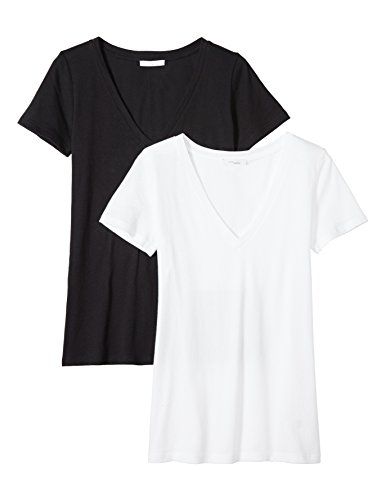 (Daily Ritual Women's Featherweight Cotton Short-Sleeve V-Neck T-Shirt, 2-Pack, Black/White, XL)