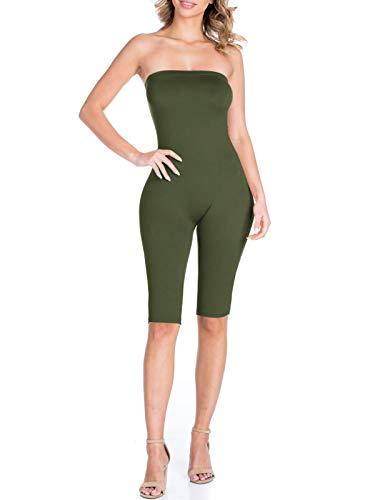 BEYONDFAB Women's Bikers Short Pants Tube Jumpsuit One Piece Short Catsuit Olive L