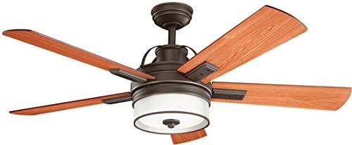 Kichler Lighting 300024OZ Lacey Ii-52 Ceiling Fan with Light Kit, Medium Cherry/Walnut Blade Finish, Olde Bronze ()