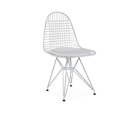 ElleDesign DKR Eiffel Wire Chair Silla lacada Blanca Total ...