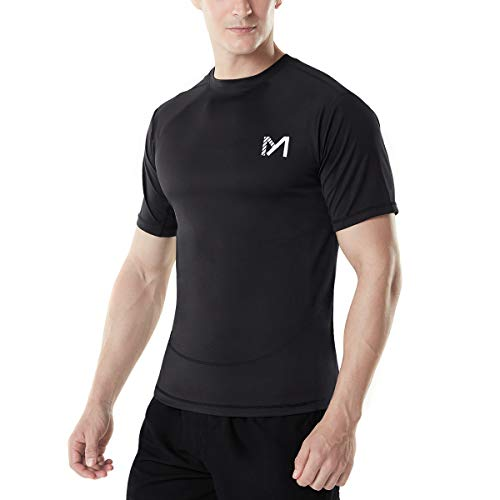 Men's Compression Short Sleeve T-Shirt, Cool Dry Sport Workout Baselayer Top, Athletic Underwear Running Cycling Basketball (Black, Small) ()