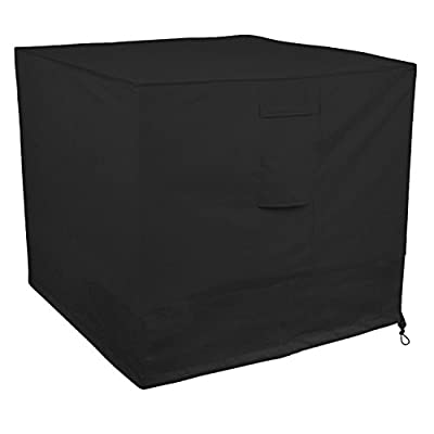 Little World Winter Air Conditioner Cover Heavy Duty Large Universal Veranda AC Unit Cover for Standard American Central Air Conditioner Outdoor Full Cover (Square) 34 x 34 x 30- inch, Black